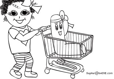to open the coloring page  then download  print  and start coloringGrocery Cart Coloring Page