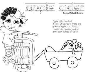 Coloring Page Apple Cider Sophie And Sadie