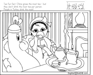 Coloring page tea by mary cassatt sophie and sadie for Mary cassatt coloring pages
