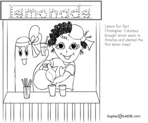 Coloring Page Lemonade Stand