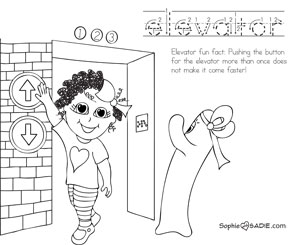 coloring page elevator sophie and sadie